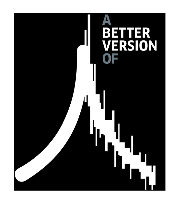 "Black and white logo that reads ""A better version of"" with the kanji for person designed to look like a signal or wavelength readout."