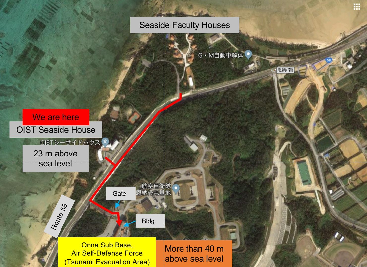 Map of Seaside evacuation route